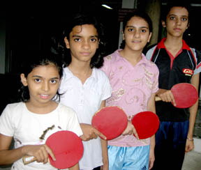 Manav Manga team (Sanighdha, Shakshi, Anviksha and Kalyani) which won the girl u-14 team crown in the Central Board of Secondary Education (Cluster 13) North Zone Table Tennis Tournament on Thursday.