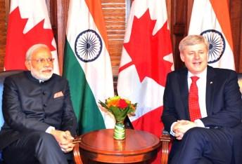 The Prime Minister, Shri Narendra Modi in Tete-a-tete with the Prime Minister of Canada, the Right Honourable Stephen Harper, at Parliament Hill, in Ottawa, Canada on April 15, 2015.