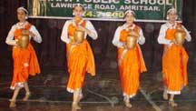 School Students perform a cultural dance during at DAV Public School In Amritsar on Thursday.