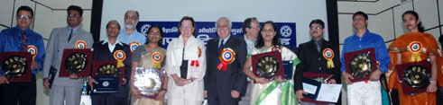 The Union Minister of Science & Technology and Earth Sciences, Shri Kapil Sibal with the CSIR Young Scientist Award-2008 winners, at the CSIR Foundation day Celebrations, in New Delhi on September 26, 2008.