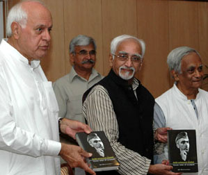 "The Vice President of India Shri M. Hamid Ansari releasing the book ""Tragic Hero of Kashmir-Sheikh Mahammad Abdullah"" authored by Shri Ajit Bhattacharya, in New Delhi on September 30, 2008. The former Chief Minister of Jammu & Kashmir, Shri Farukh Abdullah is also seen."