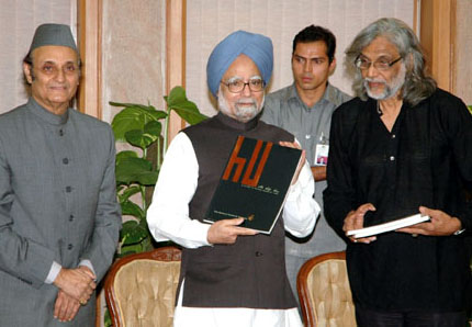 The Noted Filmmaker Shri Muzaffar Ali presented a book biannual journal of Rumi Foundation to the Prime Minister, Dr. Manmohan Singh, in New Delhi on October 06, 2008. The President, Indian Council for Cultural Relations (ICCR), Dr. Karan Singh is also seen