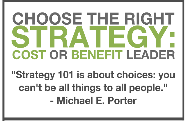 Cost and benefit leader michael porter quote