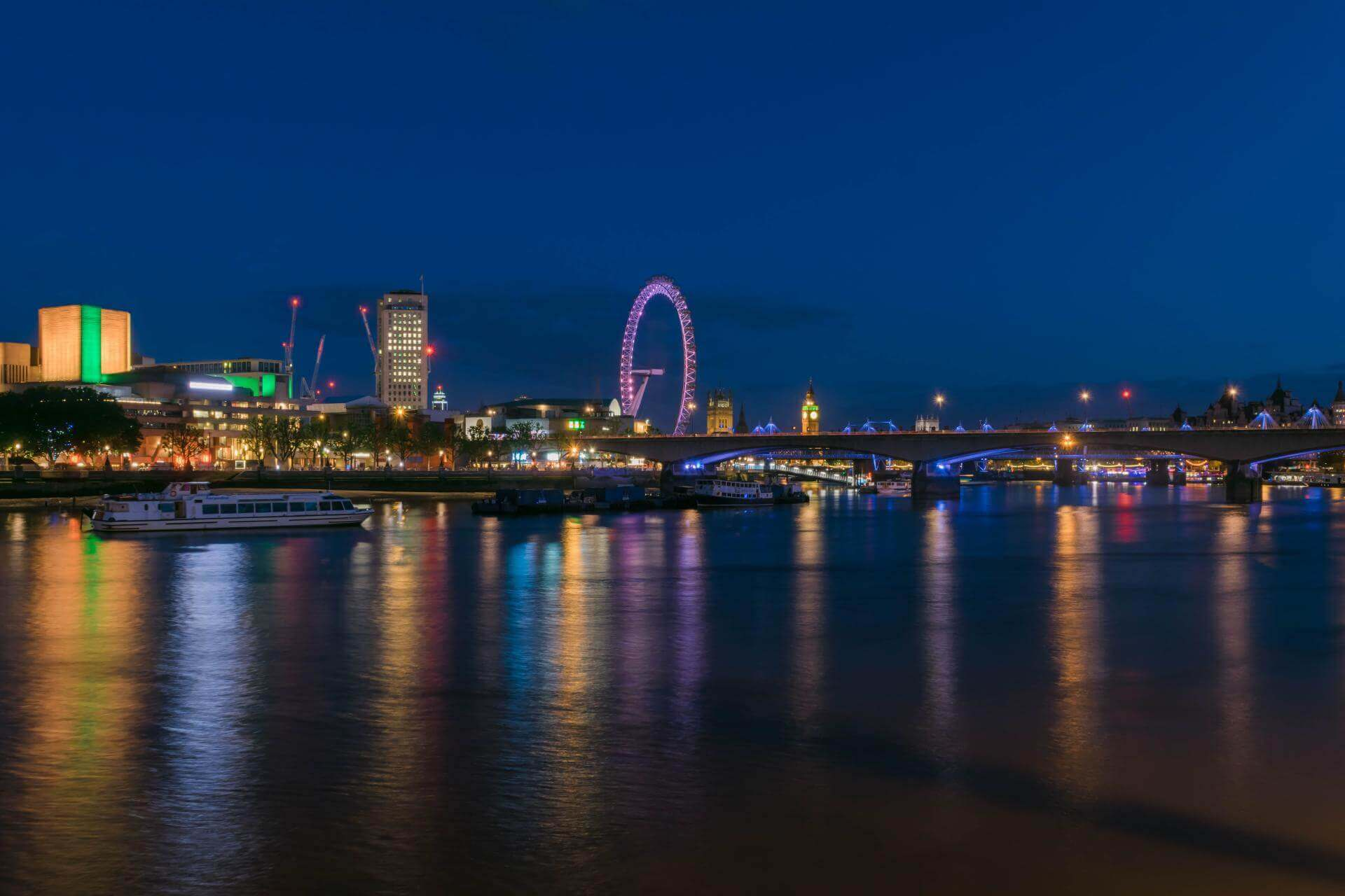 London at Night - London by the Thames at Nigh