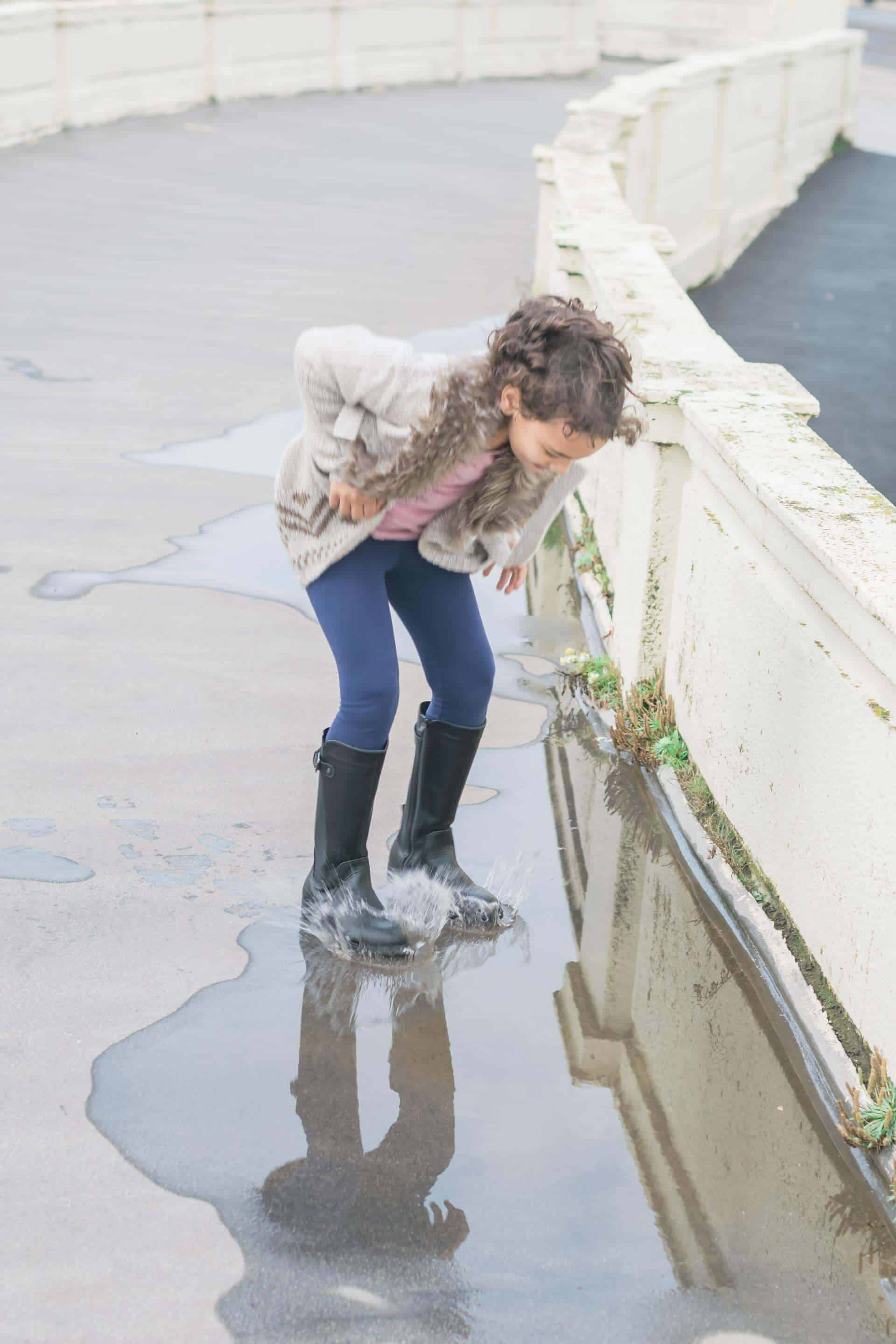 splashing in a puddle