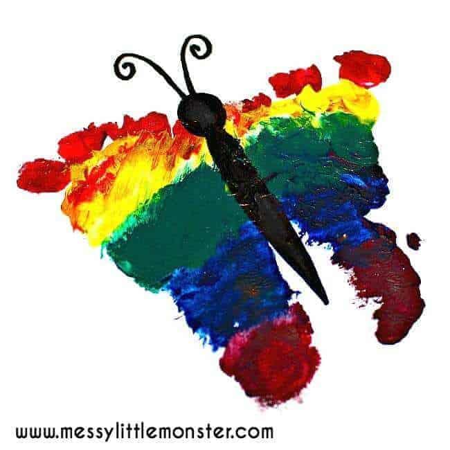 butterfly art using feet