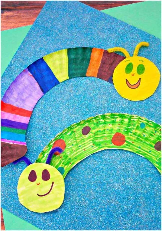 caterpillars-paper plate crafts
