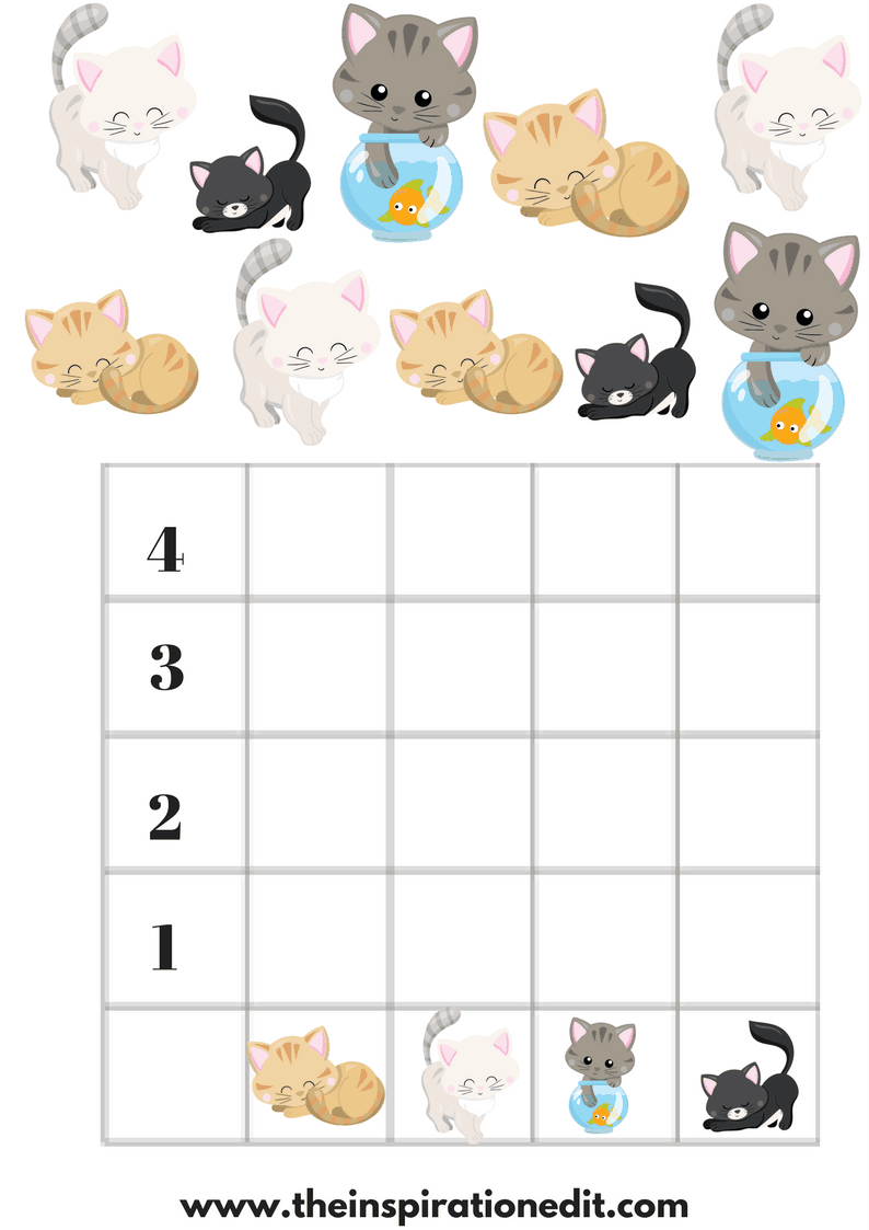 Count The Cats Preschool Graphing Worksheet