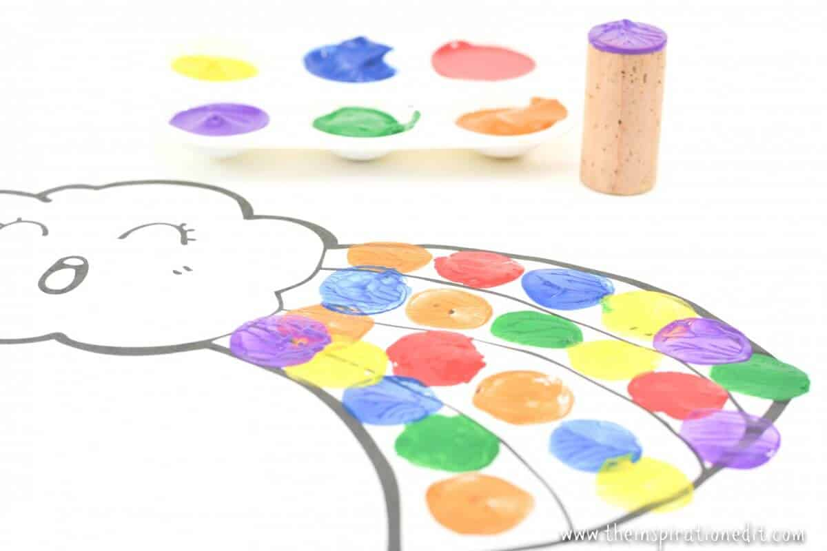 Painting Rainbows With Cork For Preschoolers The