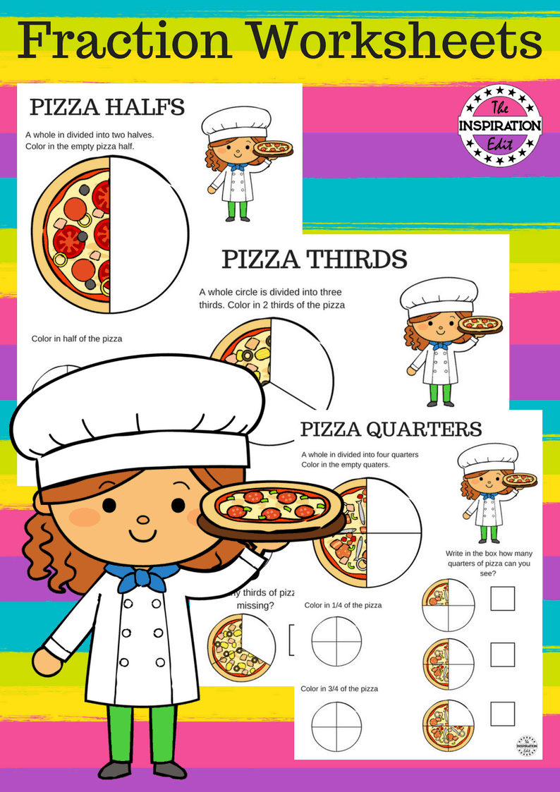 pizza fraction worksheets for kids the inspiration edit. Black Bedroom Furniture Sets. Home Design Ideas