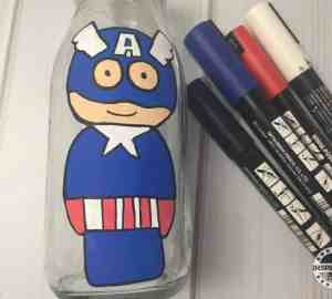 Captain America Milk Bottle Painting For Kids