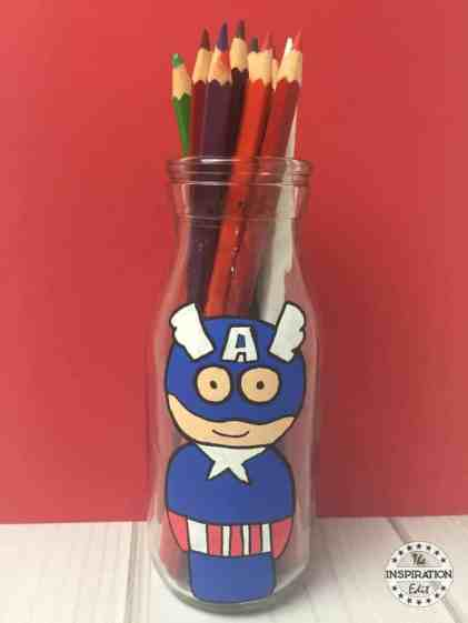 Captain America Milk Bottle Painting For Kids