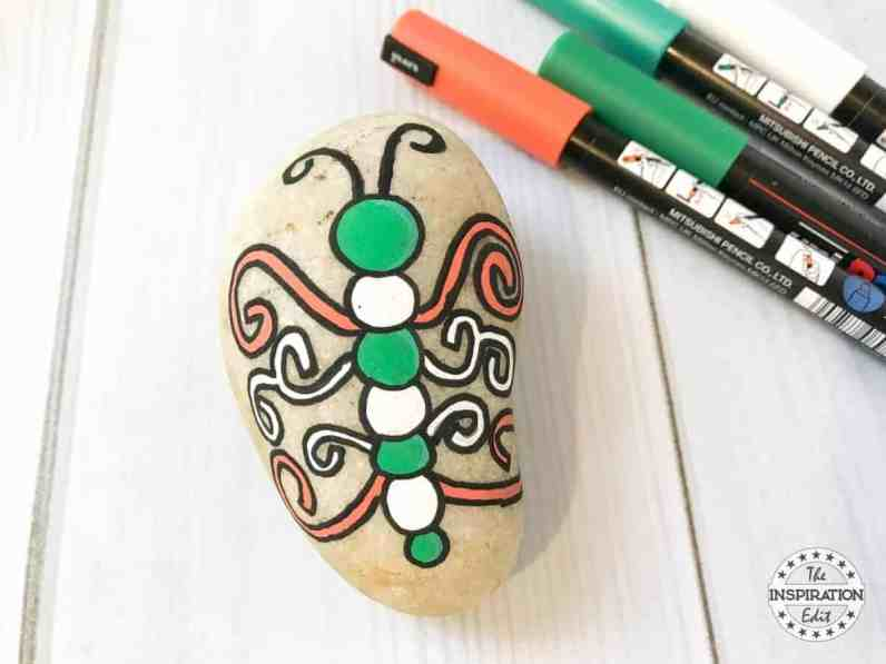 butterfly rock stone painting
