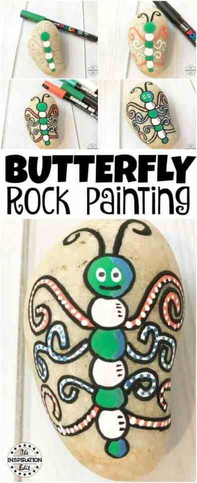 Check Out This Easy Butterfly Rock Stone Craft · The Inspiration Edit . #Butterfly #Butterflycraft #butterflyrockstone #butterflystorystone #springcraft #outdoorcraft #stoneart #rockpainting #rockstones #kidsrockstones #springrockstones #preschool #craftsforkids #butterflypainting #paint
