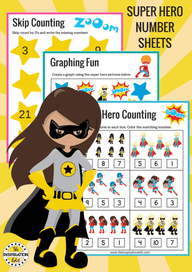 Super Hero Counting Sheets