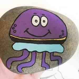 jellyfish rock stone painting