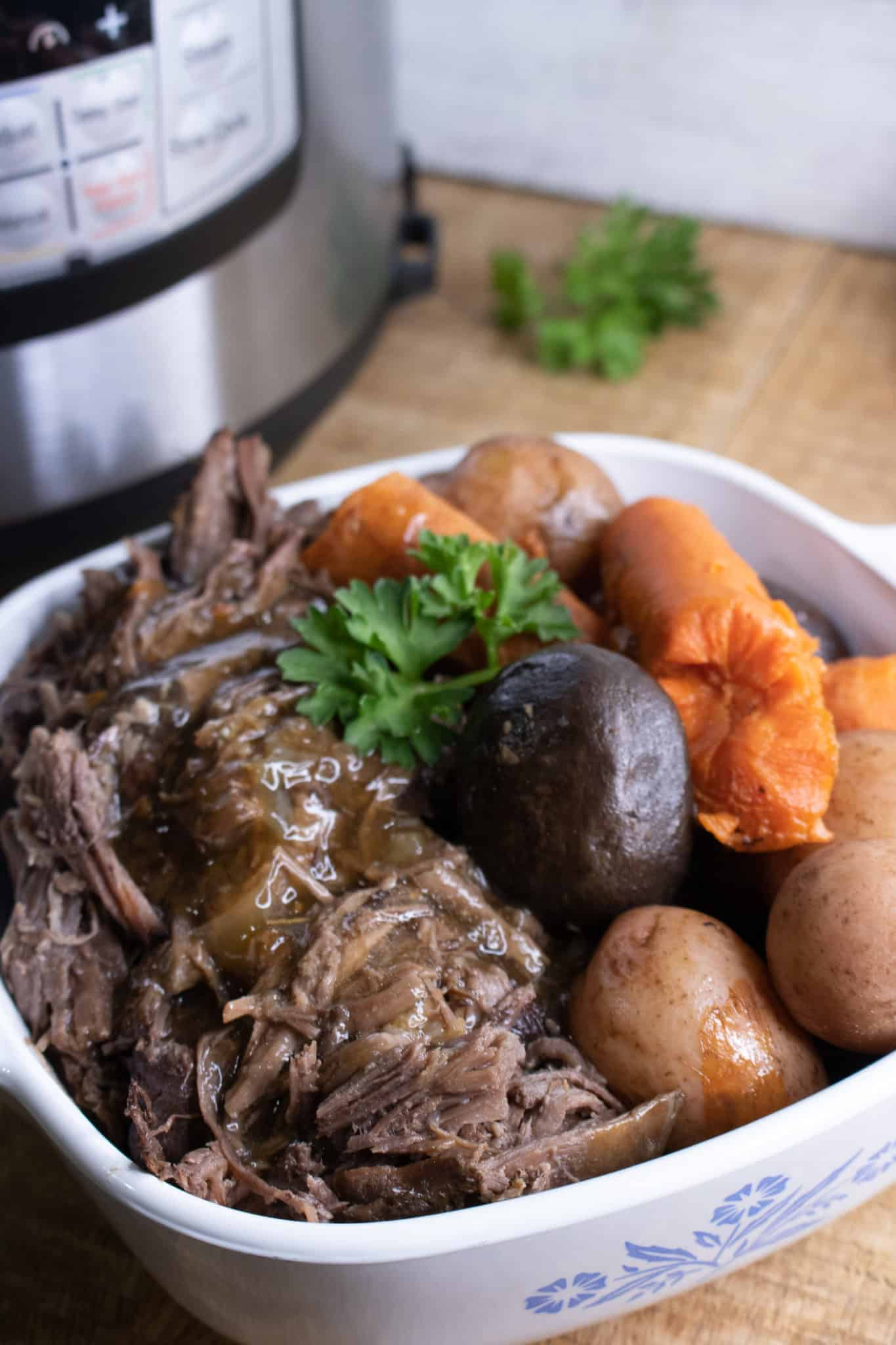 Here's a delicious melt in your mouth close up of the easy instant pot pot roast.