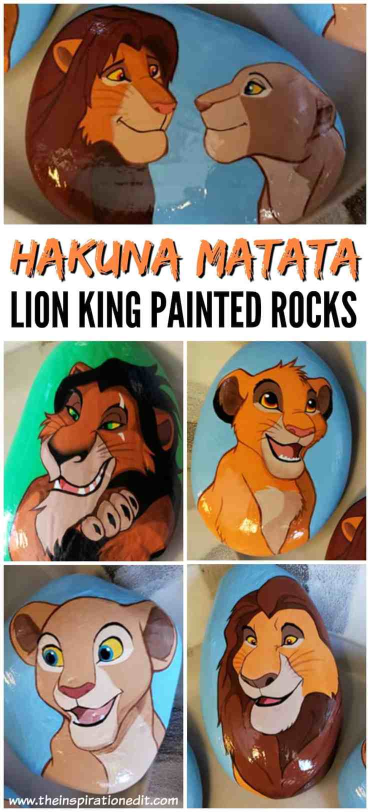 hakuna - Lion King Painted Rock Stones By Carly S