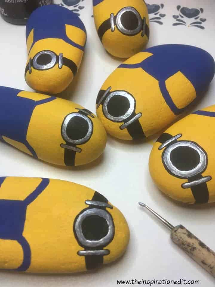minions rock stones  - Minion Rock Painting By Babara Beal
