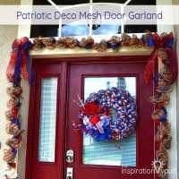 Patriotic Deco Mesh Door Garland - The Inspiration Vault