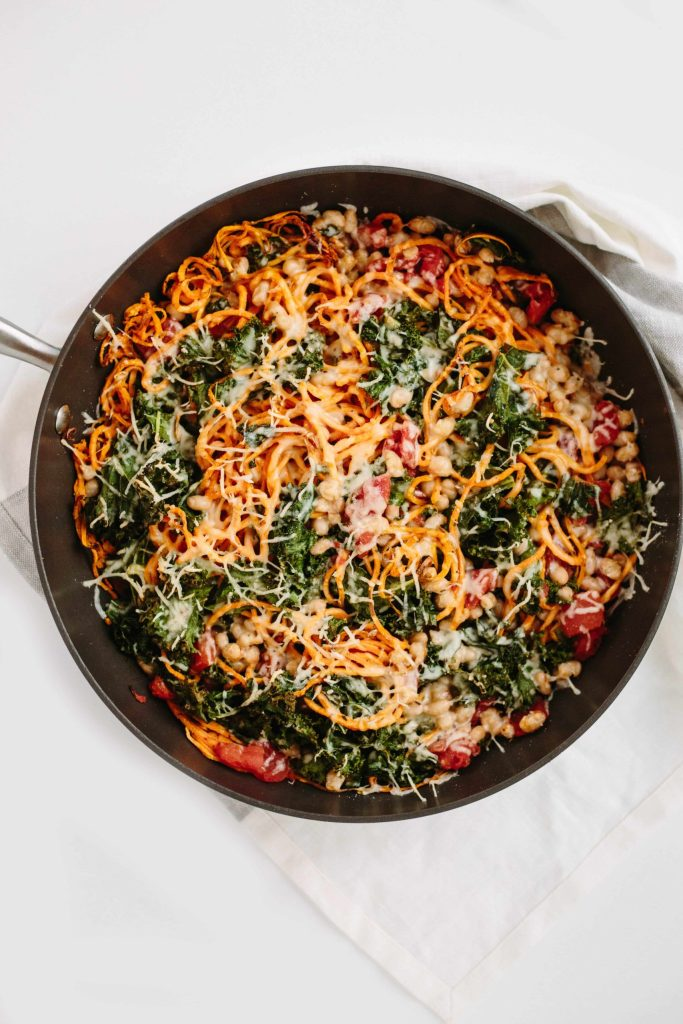 Instant-Pot-Spiralized-Sweet-Potato-White-Bean-and-Kale-Bake