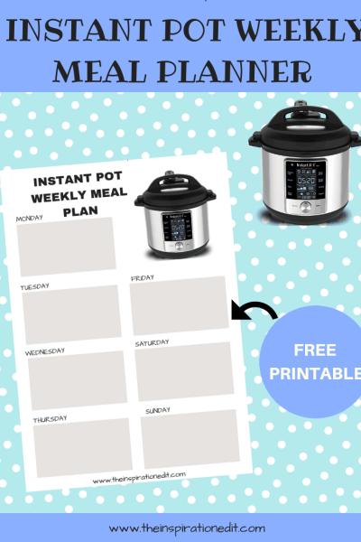 instant pot menu planner