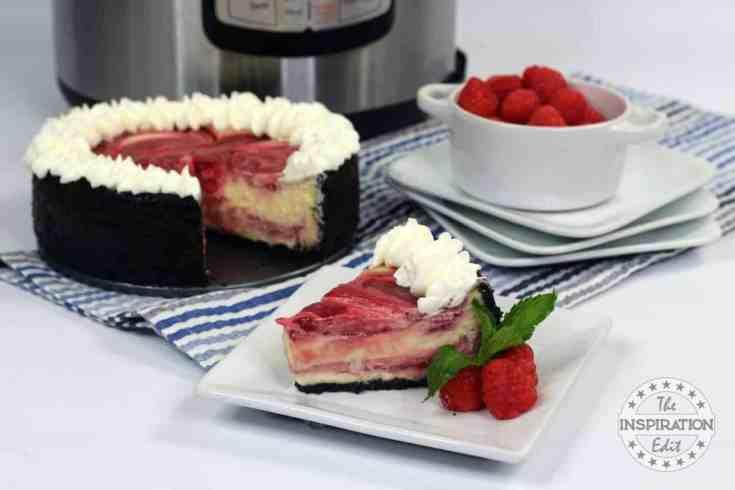 Instant Pot White Chocolate Raspberry Cheesecake