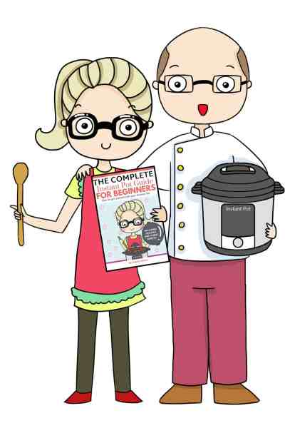 man and woman cartoon with instant pot