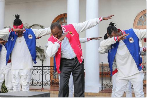 President Uhuru trolled for dabbing