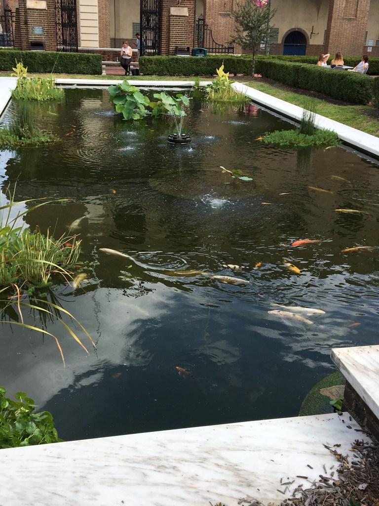 The koi pond at Penn Museum