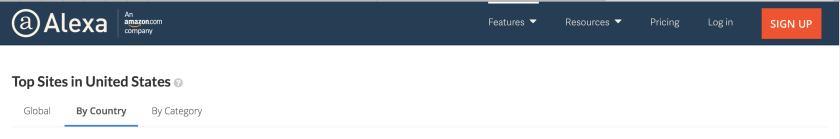 """The header of the Alexa website, which ranks the popularity of other websites (among other things) as of 19 March 2017. The header is a dark blue with white text, and the in-page sub navigation tabset, which in this case allows the user to toggle between """"world"""", """"country"""", and """"by category"""" is black on white with a blue bottom border and bold text for the selected item."""