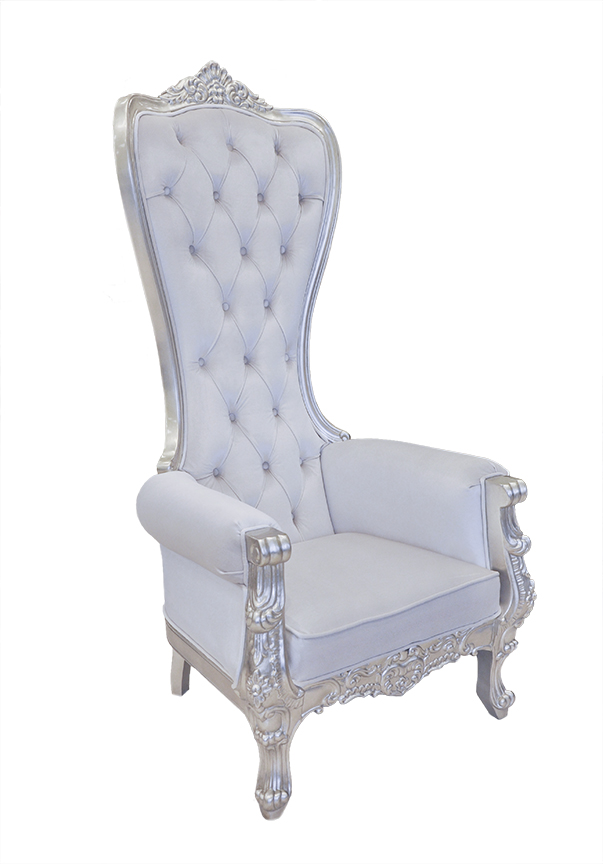 throne chair cover dual camping chairs baroque queen high back white and silver velvet