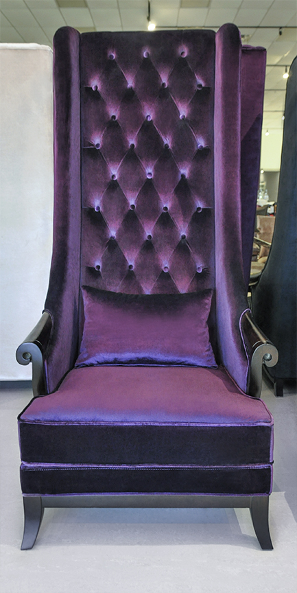 high back chairs living room furniture modern wing chair duchess purple