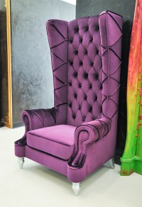Baroque High Back Chair - Purple Chair