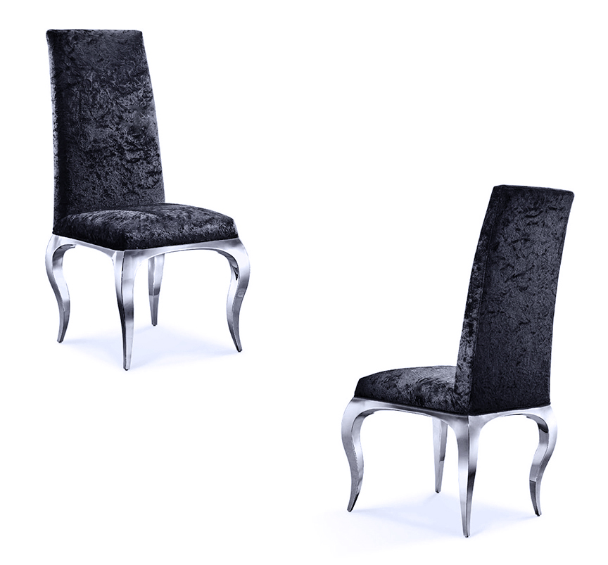 black dining room chairs with chrome legs stool chair informa tricase modern upholstered in crushed velvet
