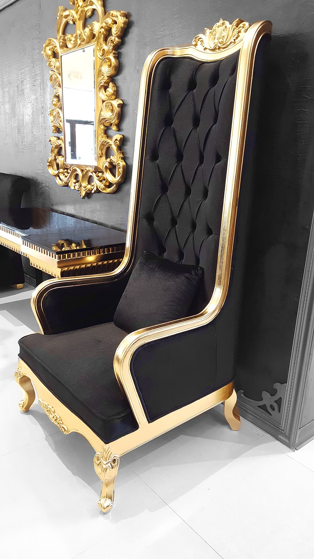 High Back Chair King Throne Black and Gold