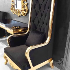 Tufted Desk Chair Convert Your To A Standing High Back King Throne Black And Gold