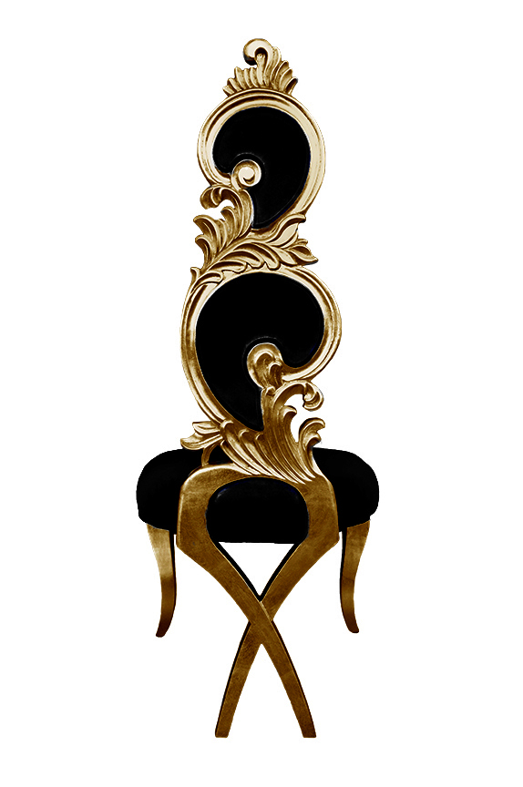 purple makeup vanity chair adjustable office chairs suzette baroque dining black velvet and gold frame