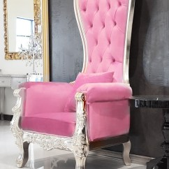 High Backed Throne Chair Faux Bamboo Dining Chairs Pink Leather Baroque Queen Back Silver Frame