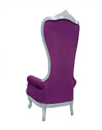 Baroque Throne Chair Queen High Back Chair Purple and Silver