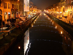 Navigli area in Milan – many bars, restaurants and shops line the canal
