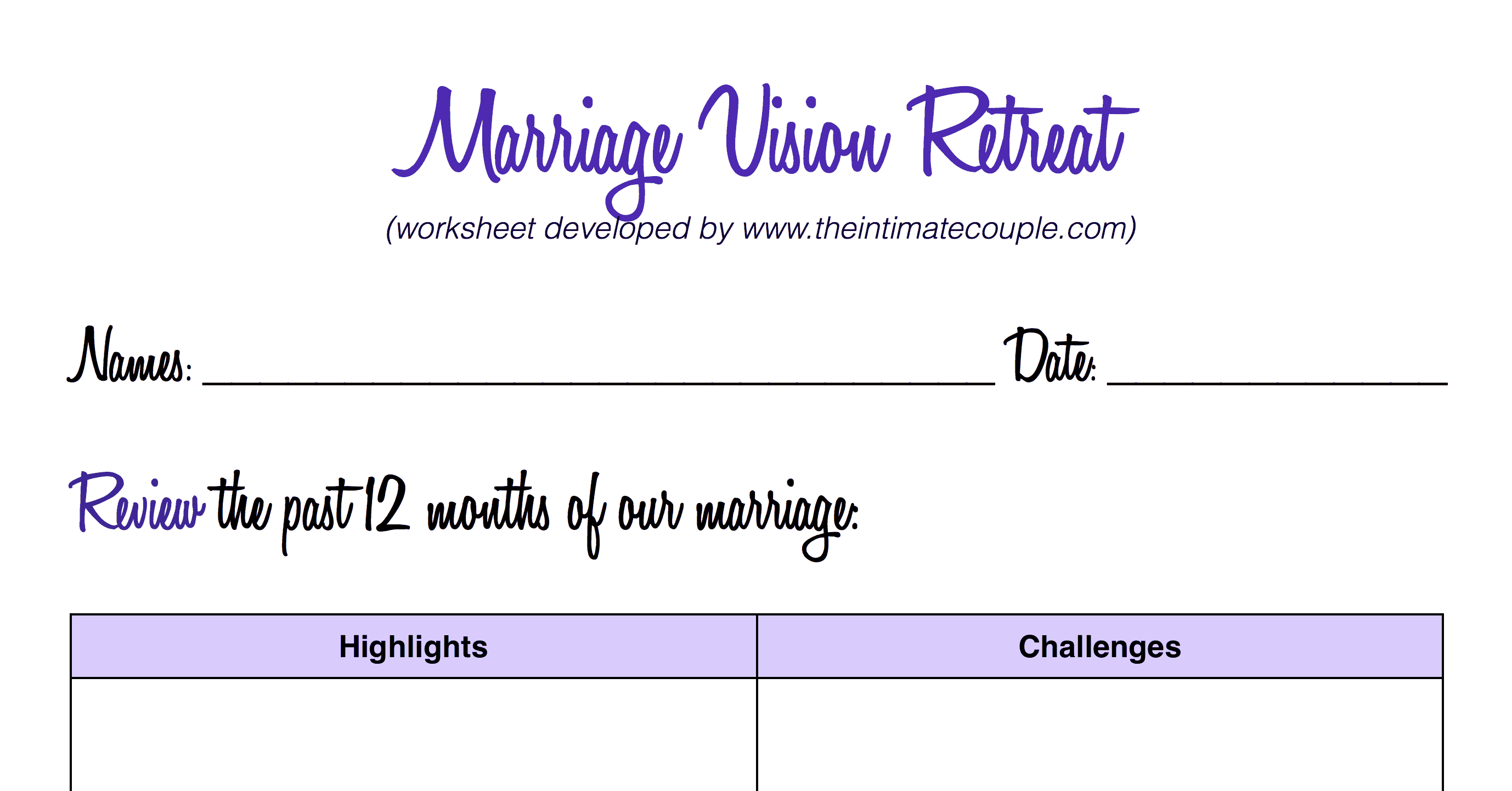 Marriage Retreats Worksheet