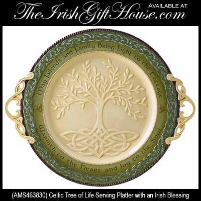 Tree Of Life Serving Platter Celtic Irish Blessing