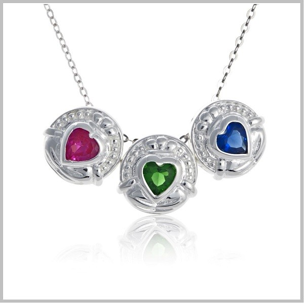 Birthstone Necklace for Mom  Claddagh Family Necklace