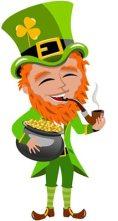 Leprachaun smoking and holding legendary pot of gold - The Irish Place