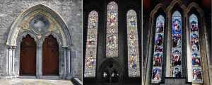 The splendid west facing Gothic Doorway along with the Stained Glass Windows in St Canice's Cathedral Kilkenny - The Irish Place
