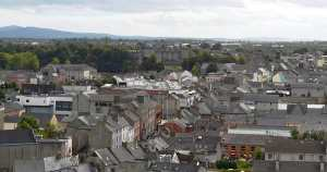 Looking over the city towards Kilkenny Castle from the top of the Round Tower - The Irish Place