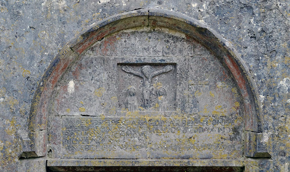 The Cross of Lorraine on the gable wall of Kilnaboy Church - The Irish Place