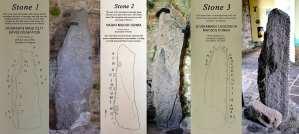 Ogham Stones 1, 2 and 3 of the Kilgrovan stones on exhibit at Mount Melleray - The Irish Place
