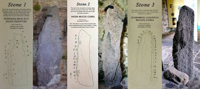 Ogham Stones 1, 2 and 3 of the Kilgrovan stones on exhibit in the Mount Melleray Heritage Centre - The Irish Place